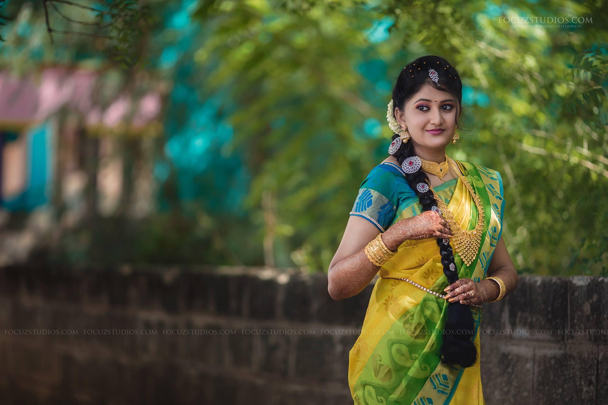 Yellow Blue and Green Silk Saree