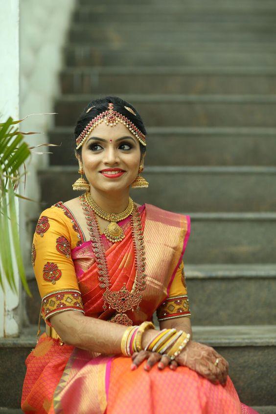 Pink with orange border silk saree