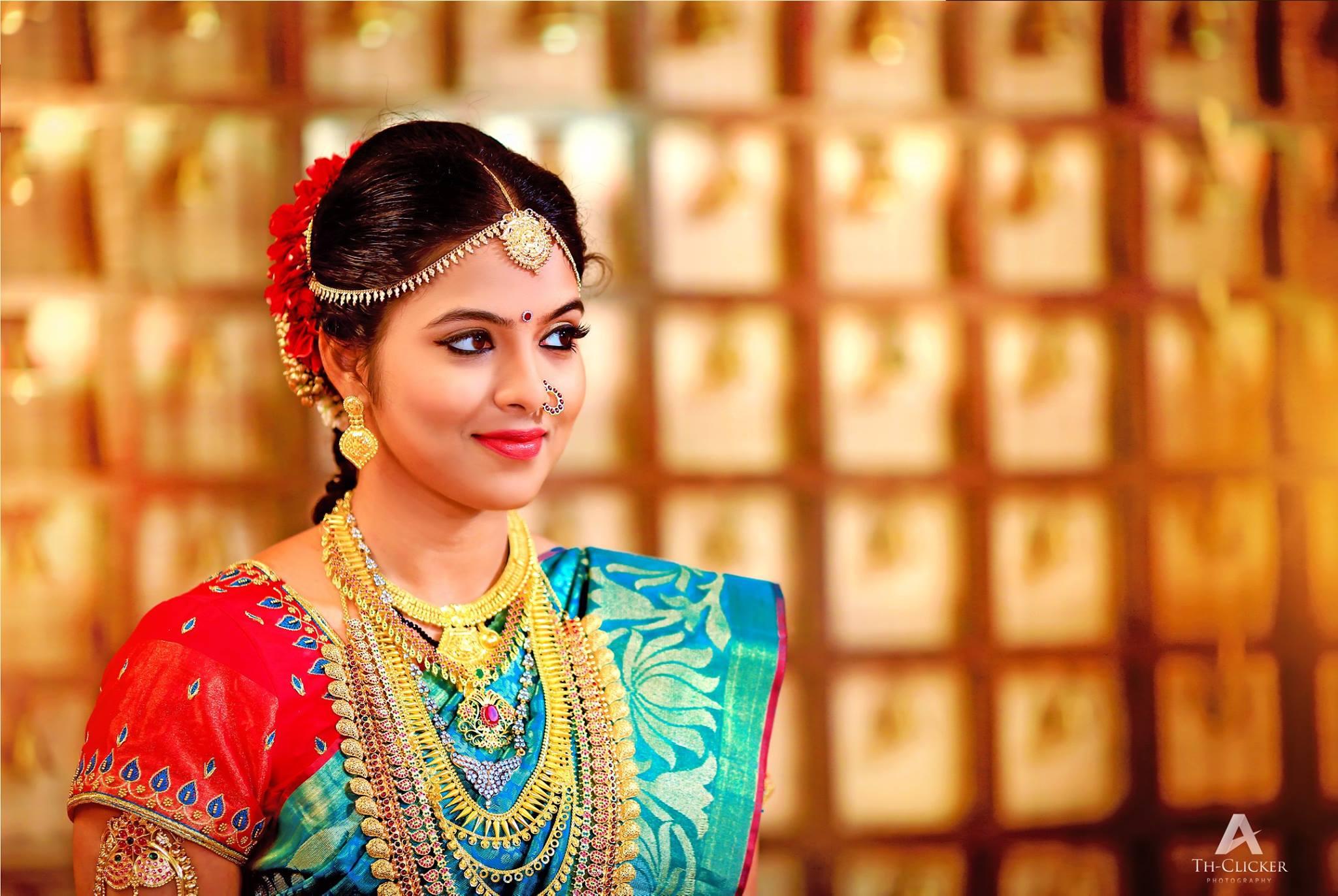 Red Silk Blouse with Blue Aari Work