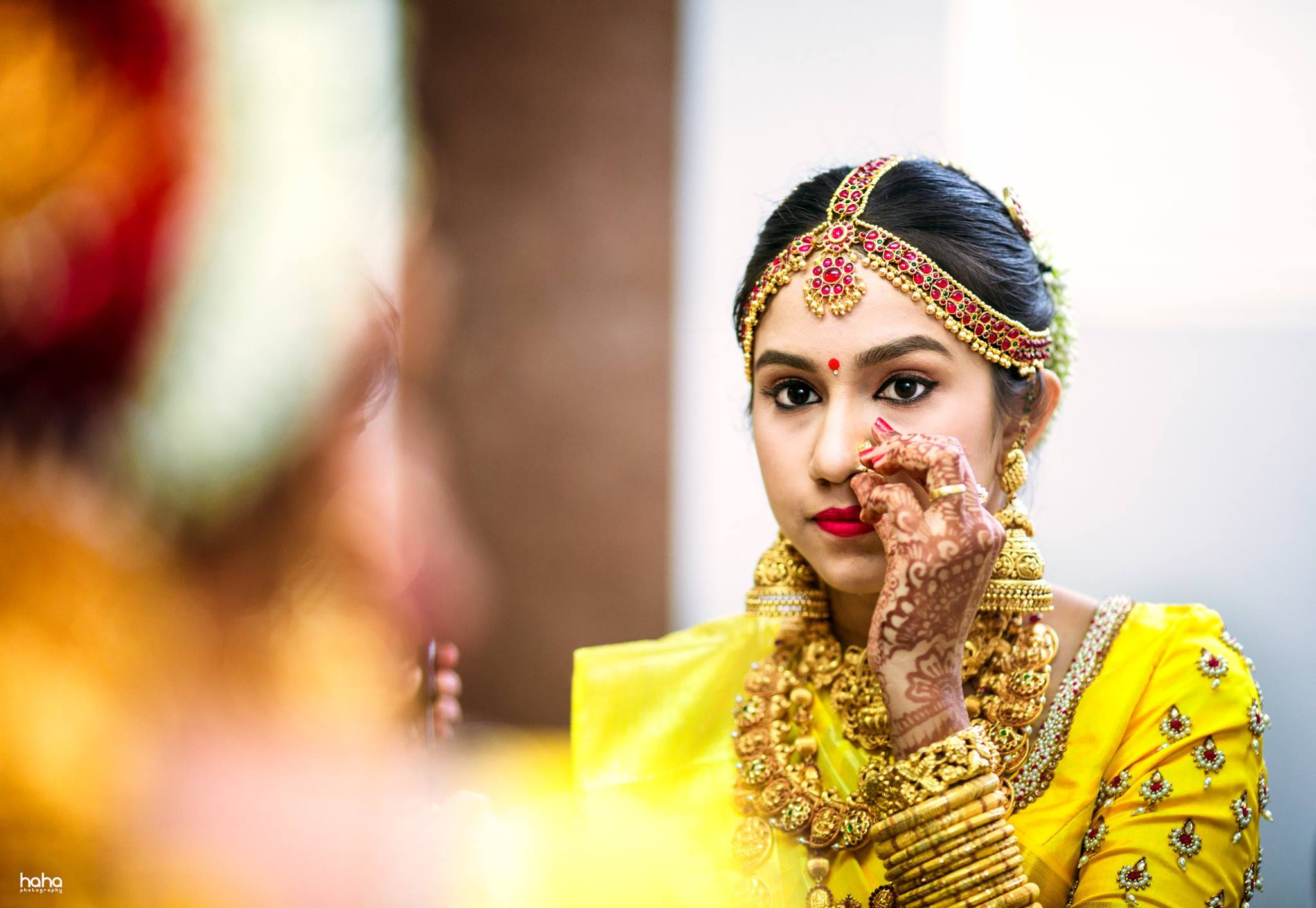 Yellow Bridal Blouse with pearl work