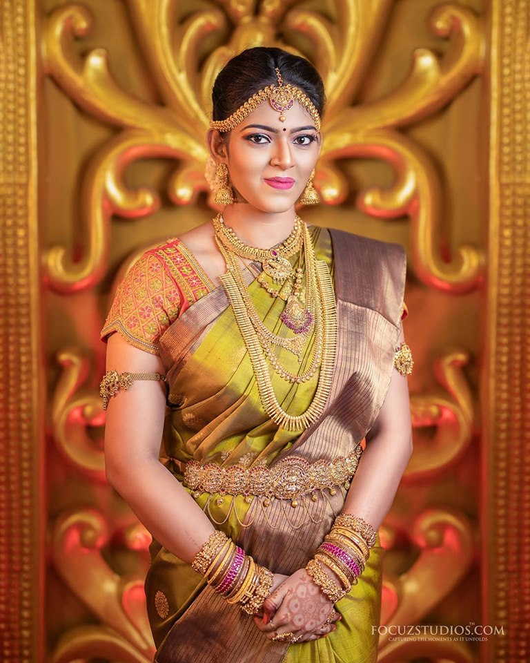 Olive green silksaree with brown border