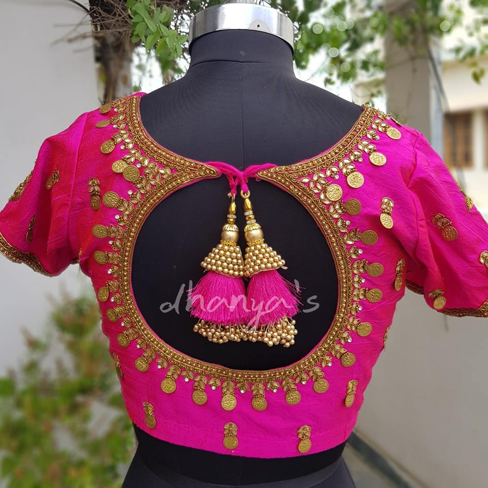 Pink Kasu Work Blouse design