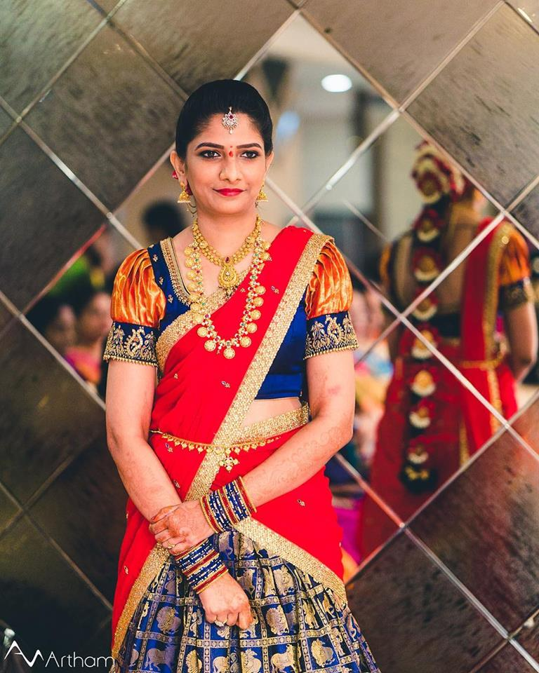 Admirable bride in red