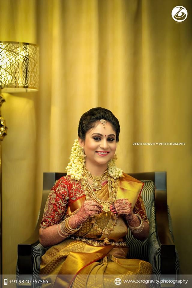 Golden Red Silk saree