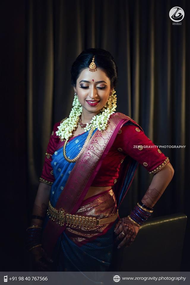 Blue silk saree with Pink Mango border
