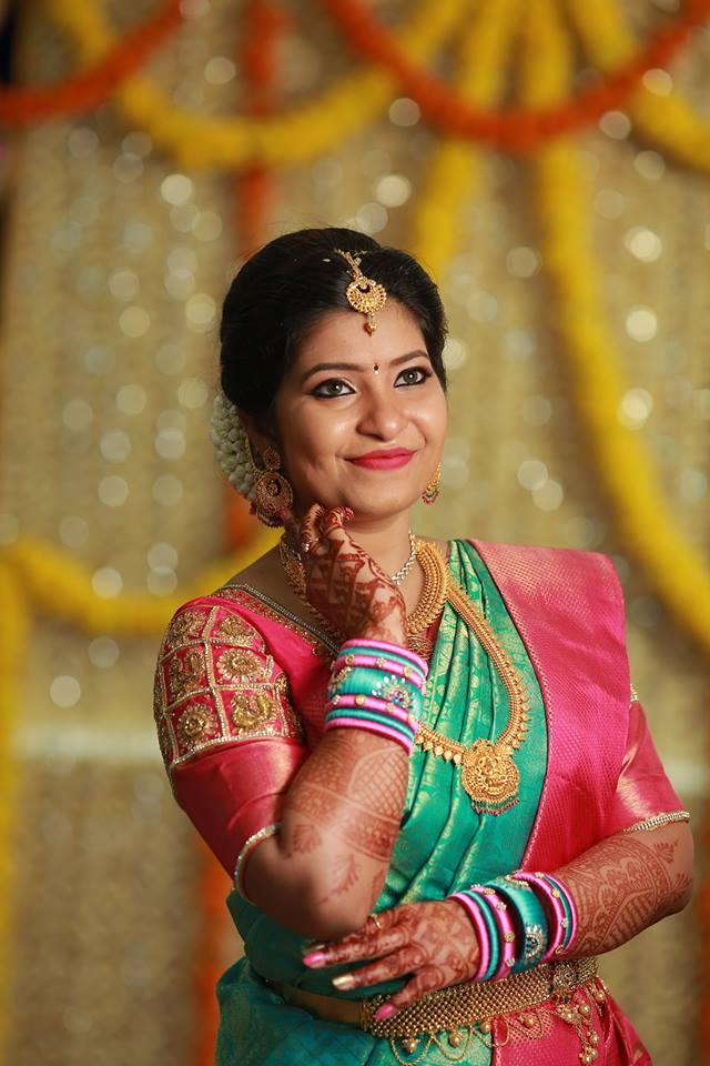 Blue silk saree with pink border