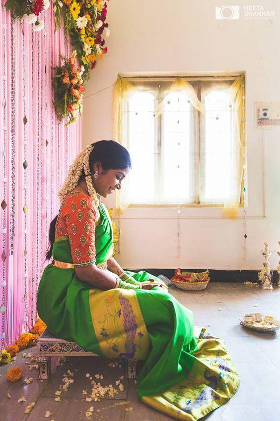graceful green saree with orange aari work blouse photo
