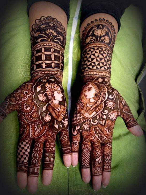 Tradition cum modern bridal mehndi