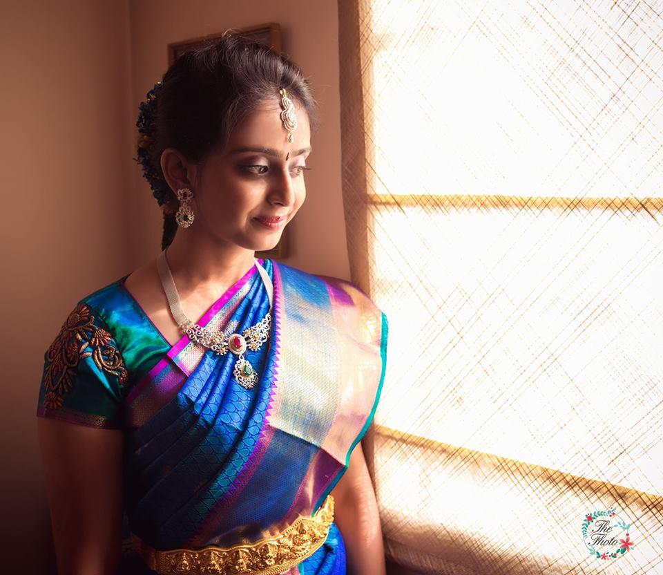 Blue Silk saree with Violet Border