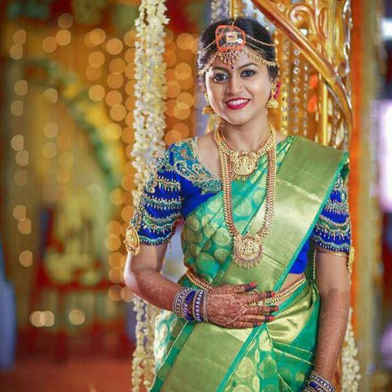 Blue Silk Saree with Gold round design