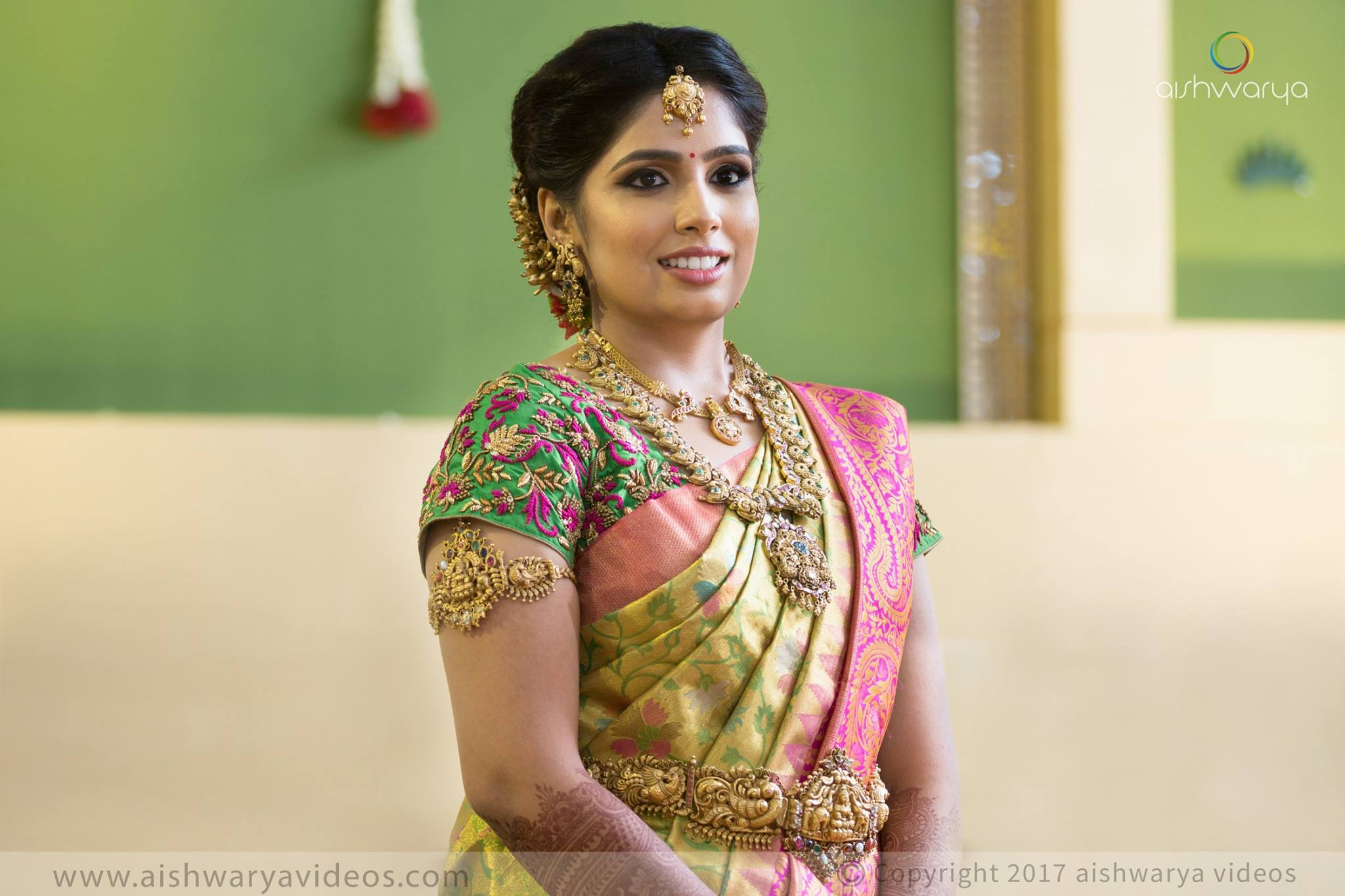 Pink And Green Floweral Silksaree