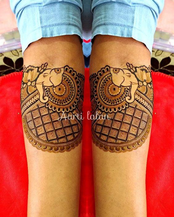 Elephant design bridal mehndi