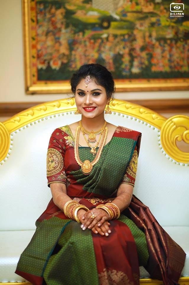 Green With Brown Kancipuram Silk Saree