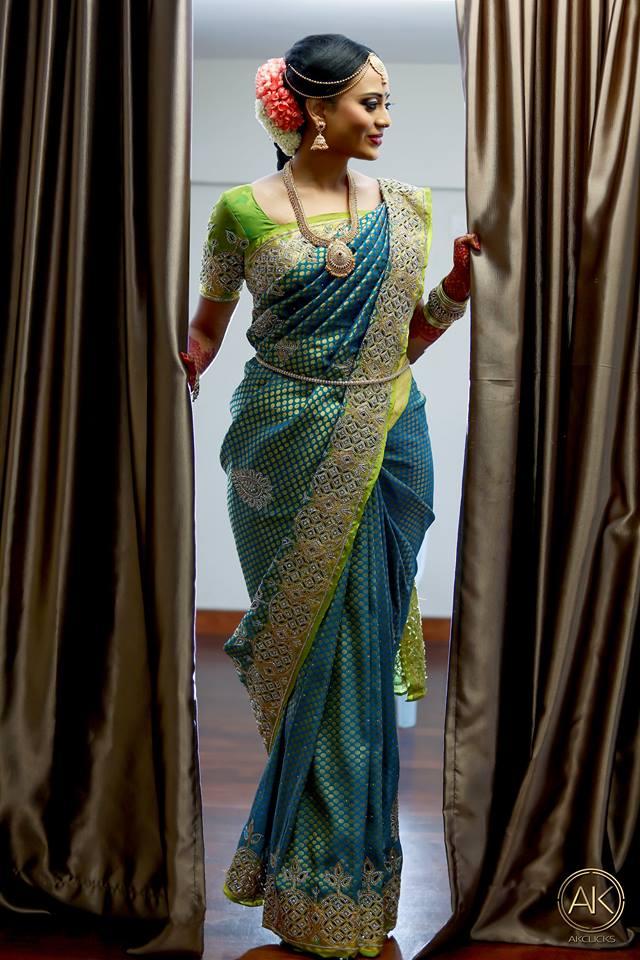 Blue silk saree with Cut work stone border