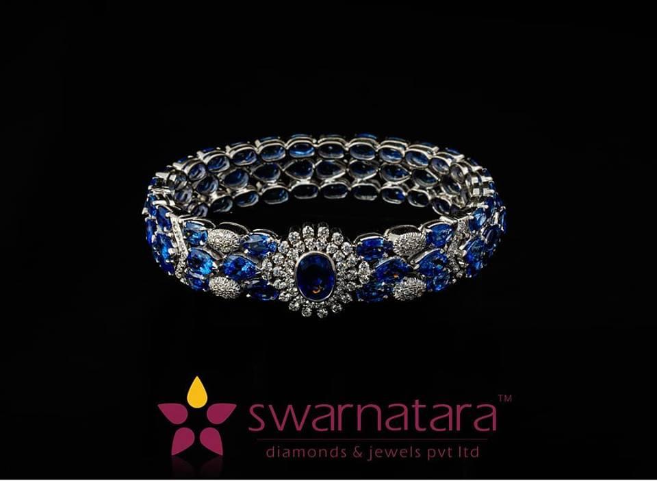 Vivid sapphires with diamond bracelet