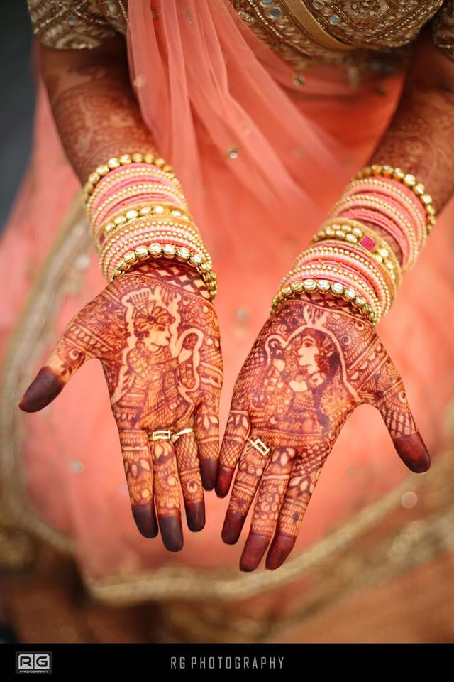 Bride and Groom Mehndi Design