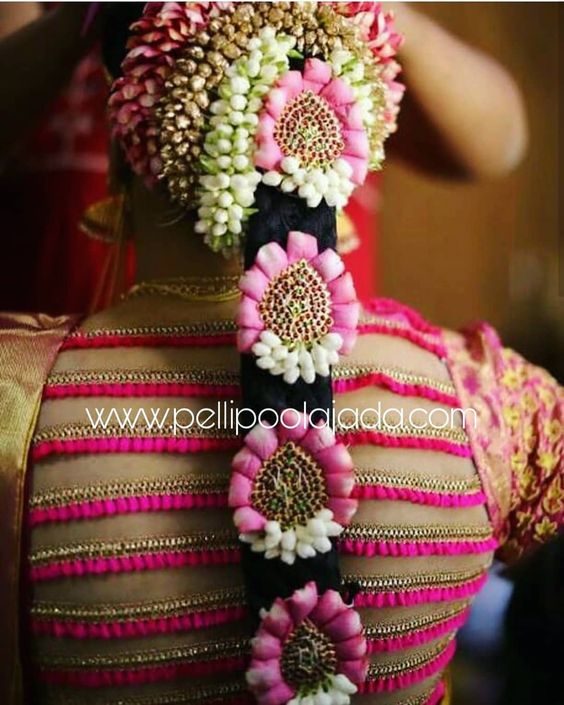 Pretty pink bridal jadai decoration