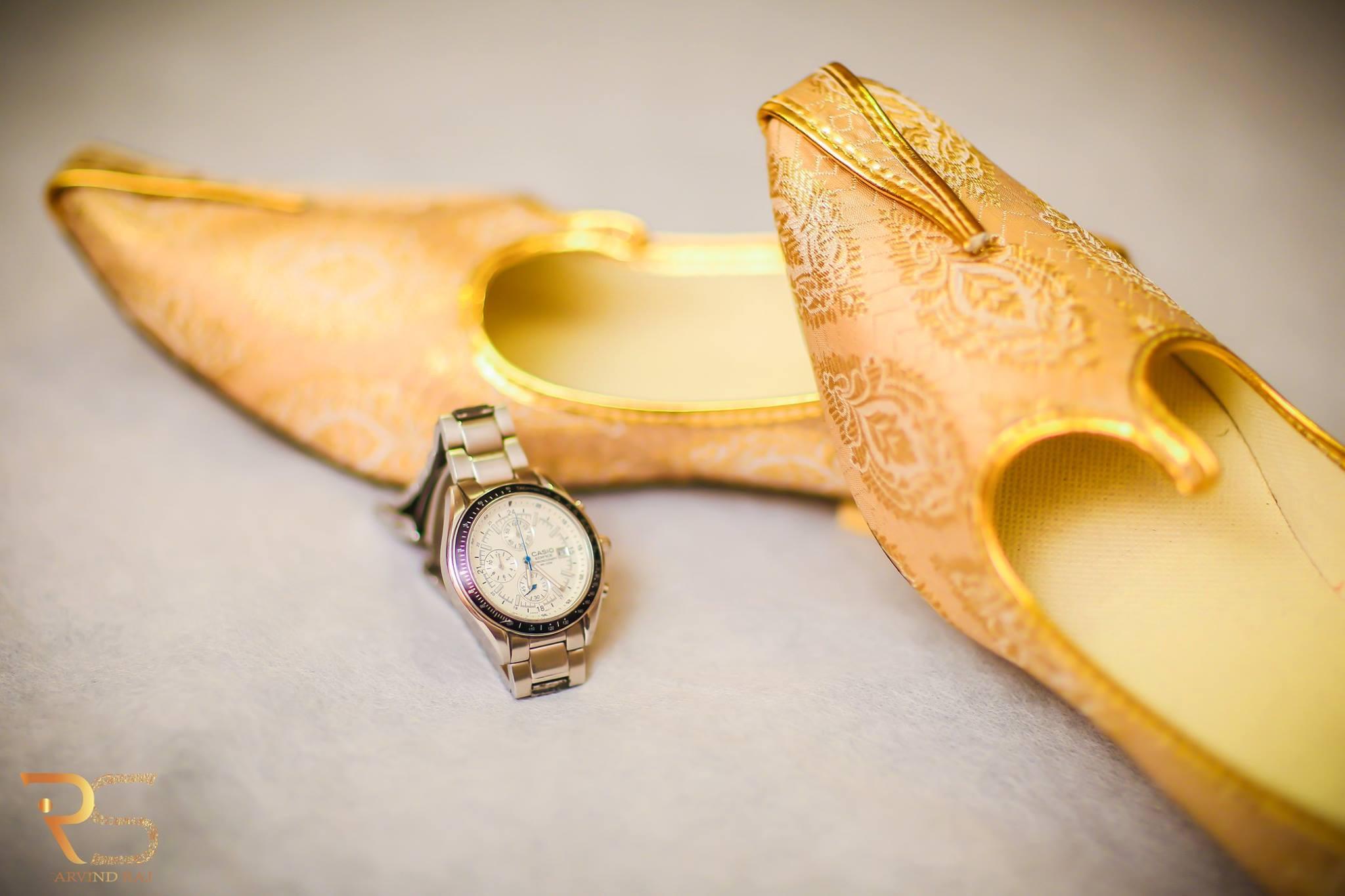 Golden Color Groom Shoe with watch