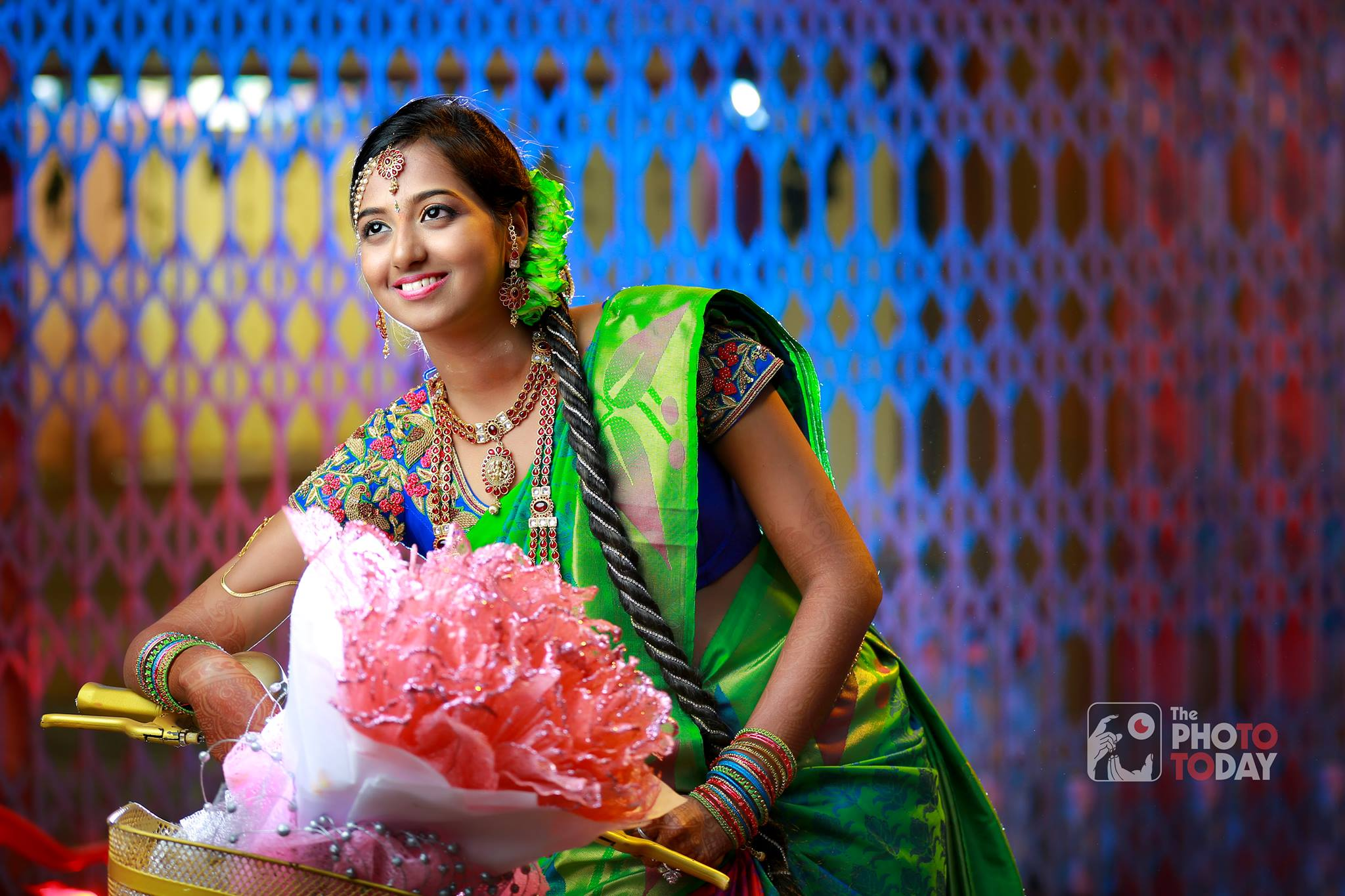 Reception Jadai for green saree bride
