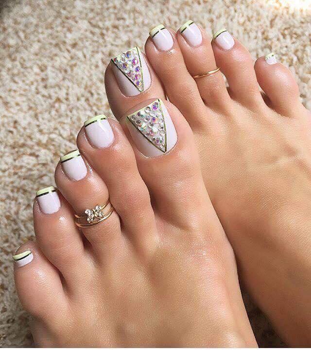 White Nail Polish with stone Toe nail art