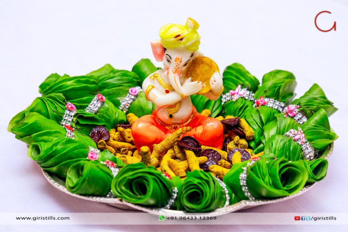 Ganesha betel leaves plate Decoration & Plate Decoration for Wedding | Plate Decoration Designs | Photo ...