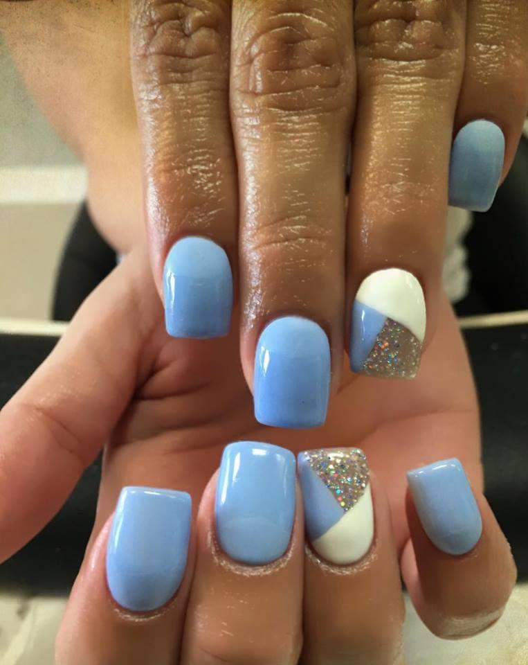 Simple Blue Nail art