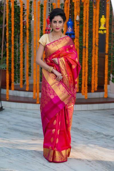 Gorgeous Pink Kancivaram saree