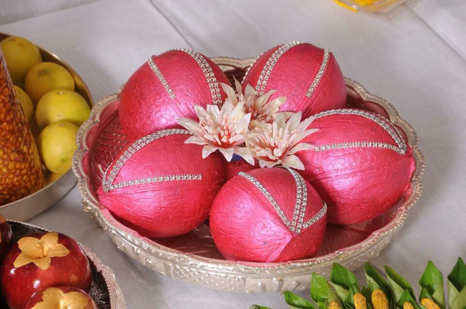 Metallic pink with stone Coconut Decoration & Wedding Coconut Decoration | Coconut Decoration Designs | Photo ...