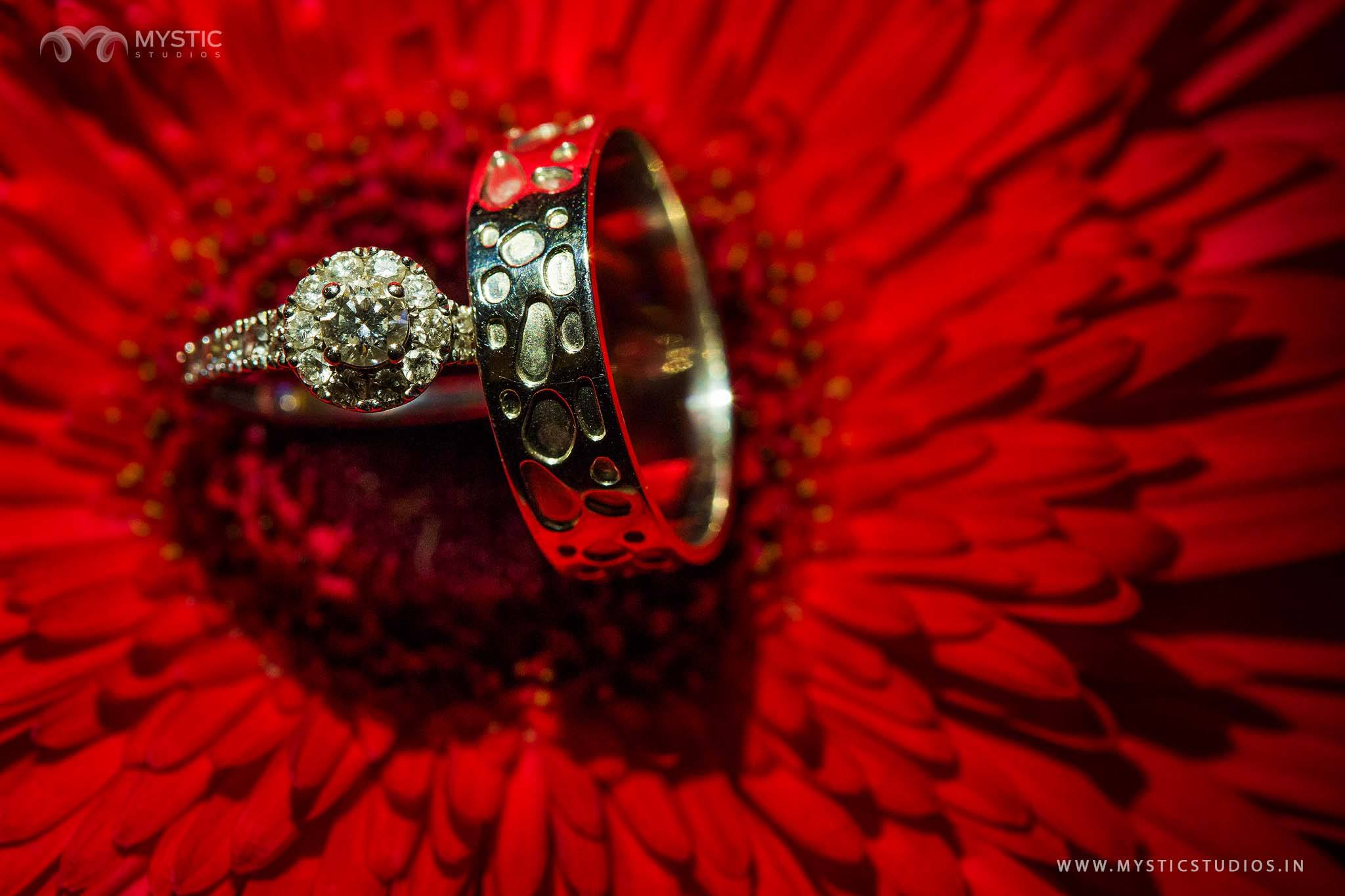 Multi stone bride and groom ring