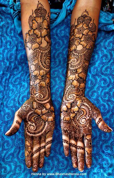 Flower and Mango Bridal Mehndi design
