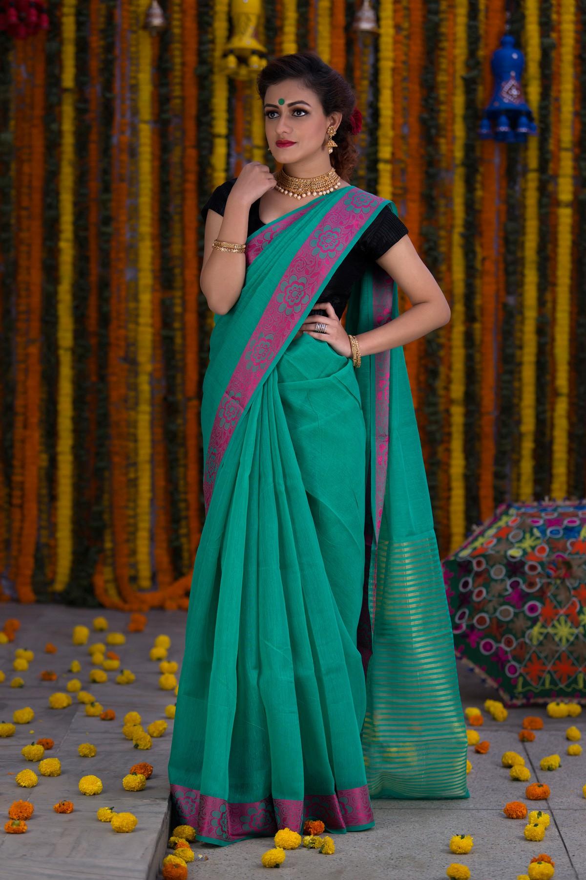 Green with purple Cotton saree