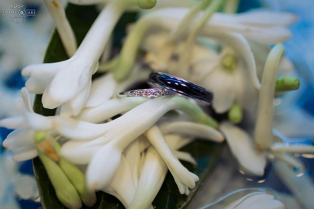 Blue and diamond Wedding Ring