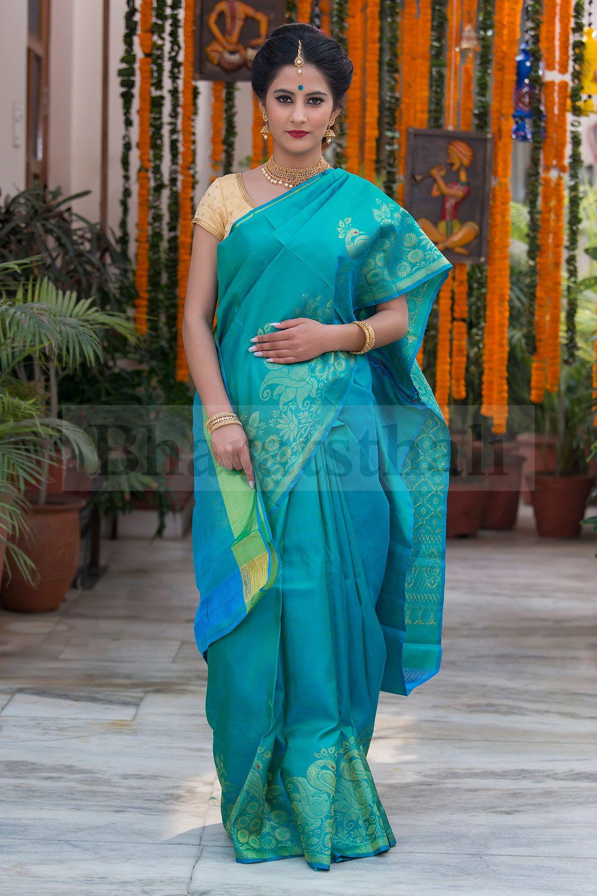 Teal Blue Pure Kanchipuram Soft Silk Saree