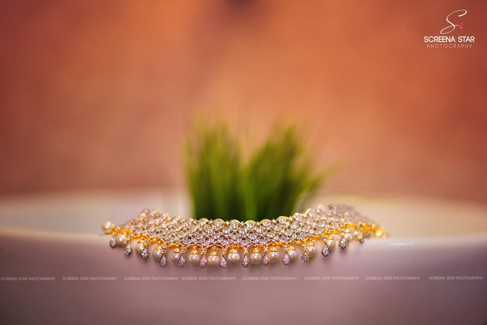 Pearl with diamond bridal neck jewelry