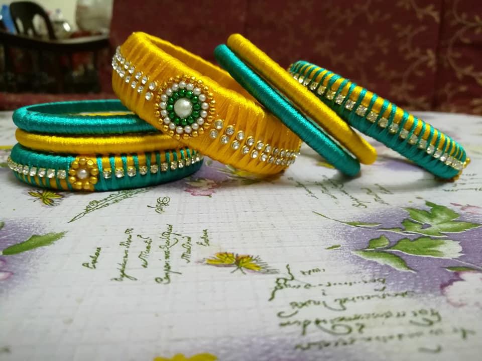 Green and Yellow Silk bangle
