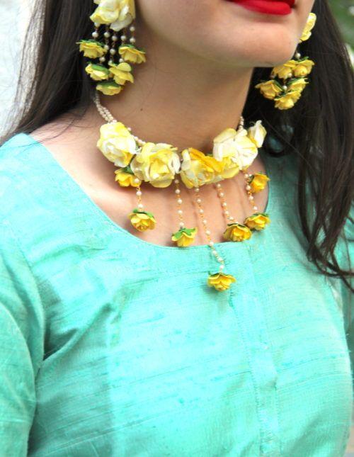 Haldi Neck flower jewelry