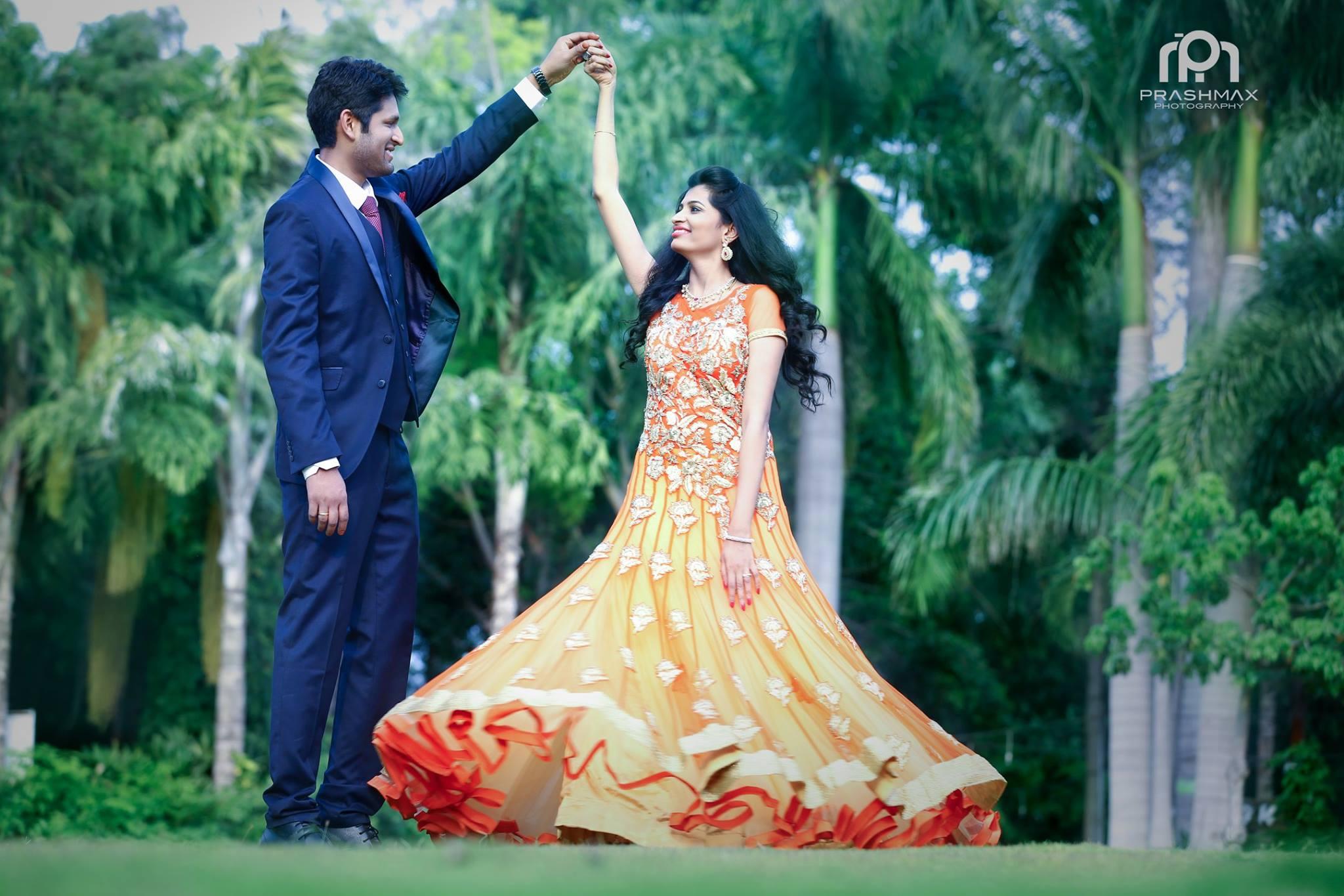 Orange Gown Wedding: Orange With Silver Work Bridal Gown