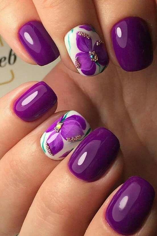 Violet Flower Nail Art