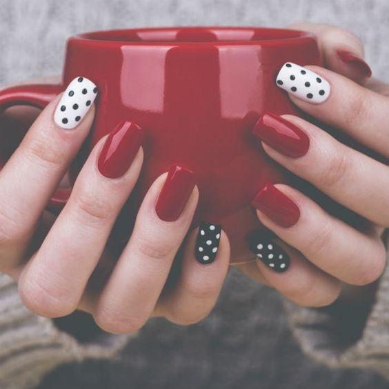 Polki Dots Red And White Nail Art Photo Gallery Wedandbeyond Com