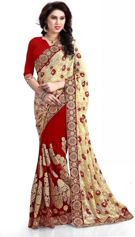 Embroidered Fashion Brasso Sari  (Beige, Red)
