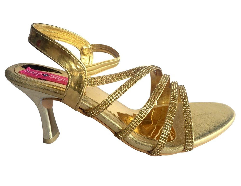 Step n Style Women Gold Strip Party Bridal Sandal