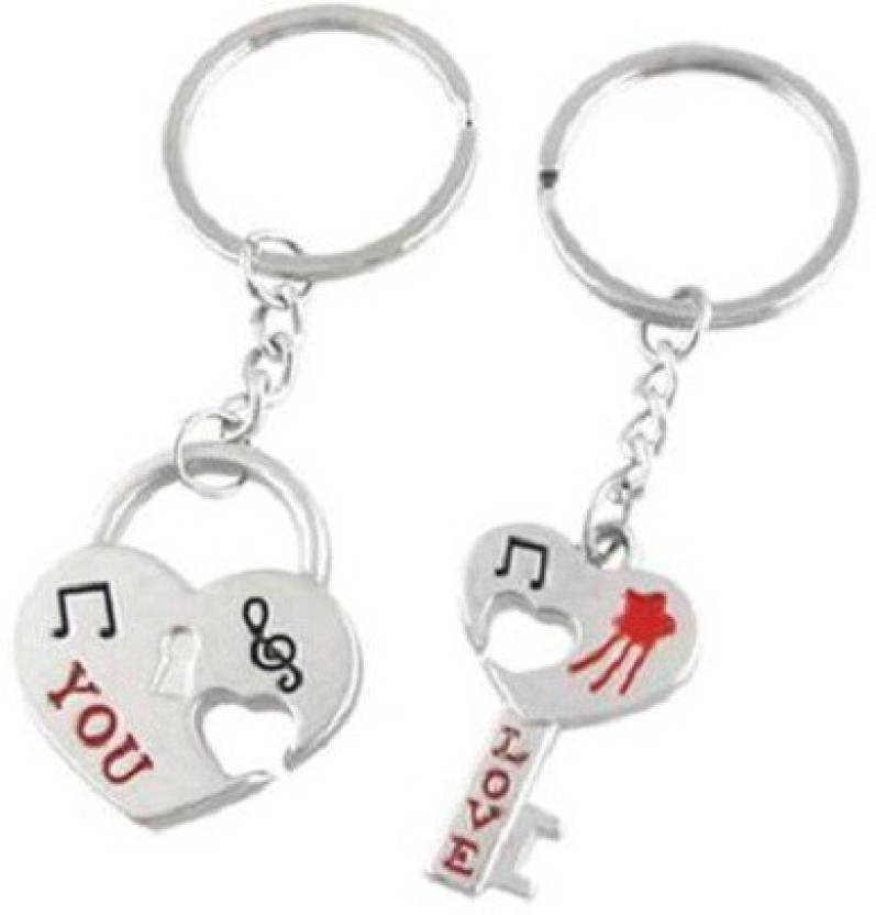 Cute Love Heart and Lock Love You Metal Key Chain