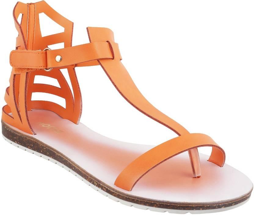 Mochi Women 25,Orange Flats