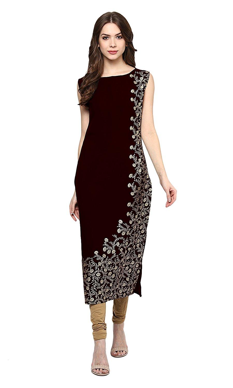 Ziyaa Women's Maroon Colour Foil Print Crepe Kurti