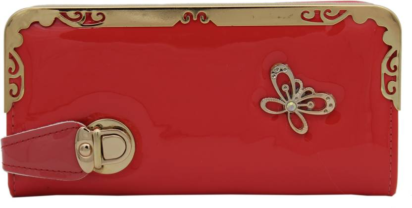 Trendy Women Red, Gold Artificial Leather Wallet