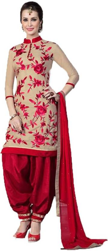 Cotton Embroidered Semi-stitched Salwar Suit Dupatta Material