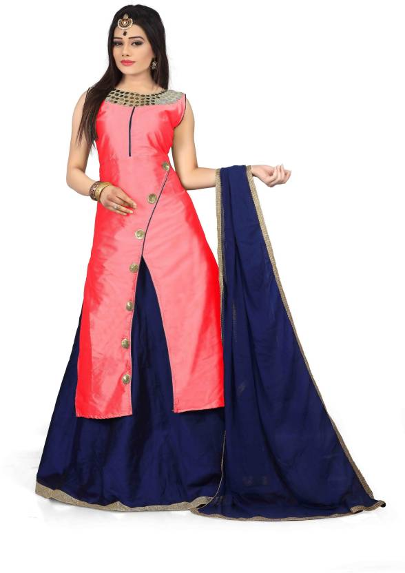 Royal Drift Silk Embroidered Semi-stitched Lehenga Choli Material