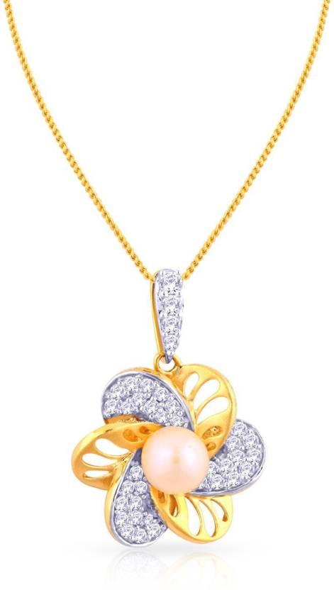 18kt Diamond, Pearl Yellow Gold Pendant