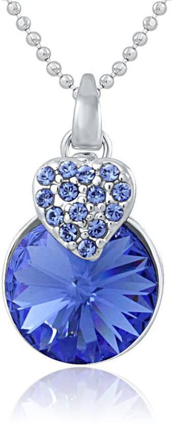Mahi Rhodium Swarovski Crystal Alloy, Brass Pendant