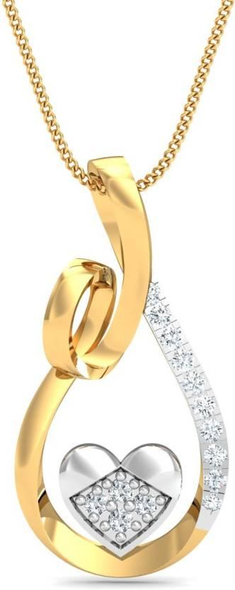 KuberBox Framed Heart 14kt Diamond Yellow Gold Pendant